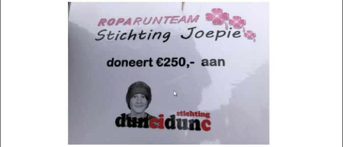 Stichting Joepie doneert 250,- tijdens Duncan's Ride!